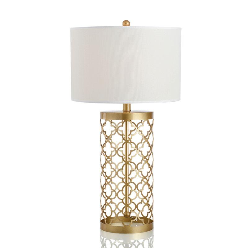 Sunset Gold Frame Table Lamp with white lamp shade