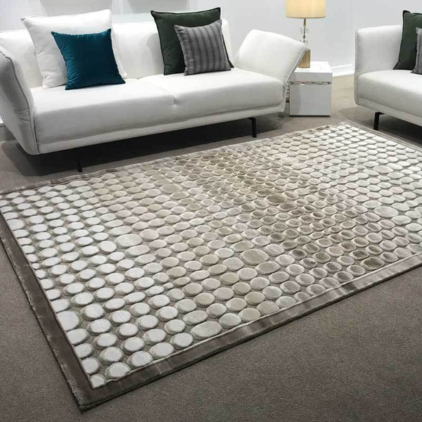 The Rocks Luxury Floor Rug Latte Cream Round Carved Pattern