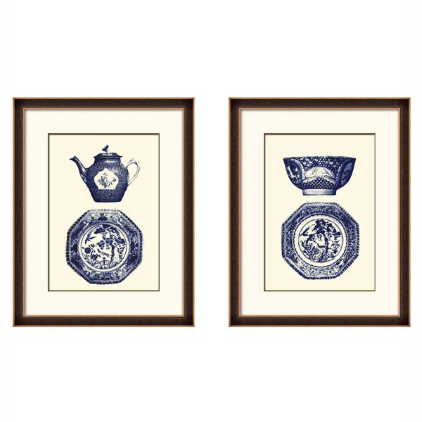 Timber Frame Blue and White Oriental Porcelain Jars art set 2