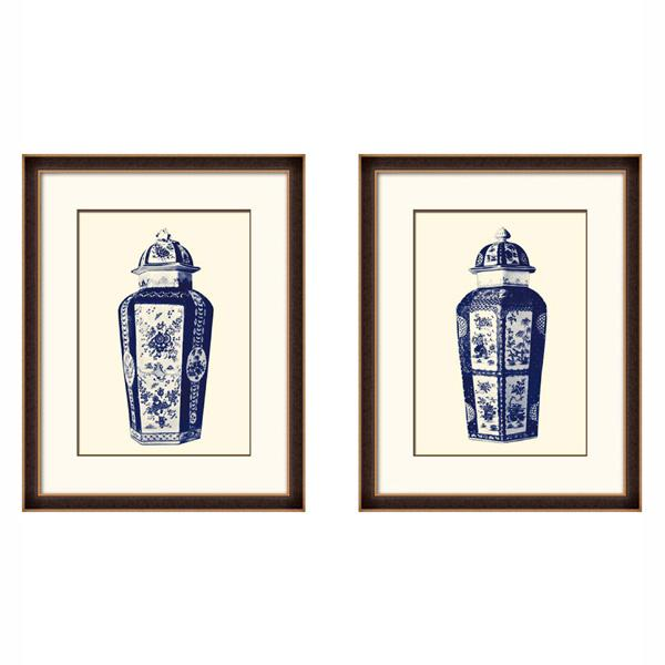 Timber Frame Blue and White Oriental Porcelain Jars art set 1