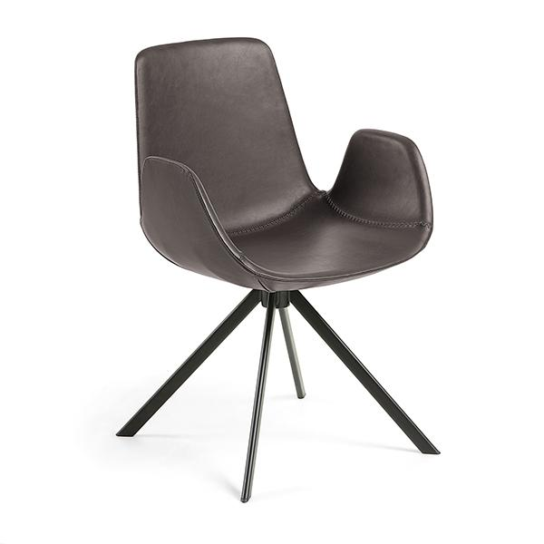 Travis Dining Chair - Dark Brown Synthetic Leather