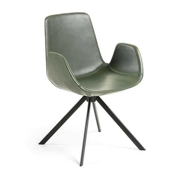 Travis Dining Chair - Olive Green Synthetic Leather