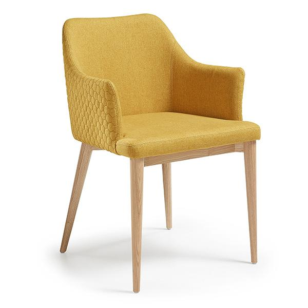 Victor Quilted Dining Chair - Mustard Fabric