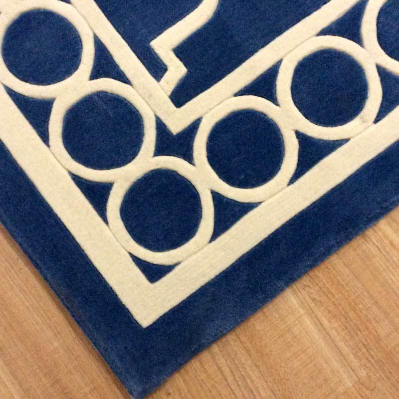 Vienna Luxury 100% Wool Floor Rug in Royal Blue and Antique white