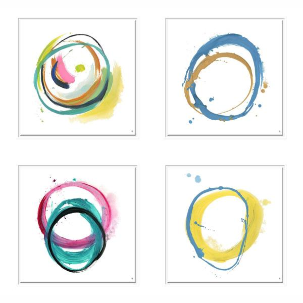 White Frame Abstract Artwork Cirlcle Painting art set 1