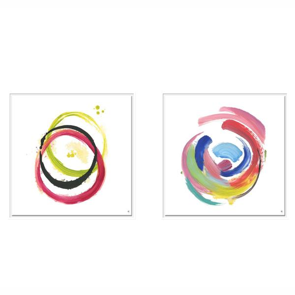 White Frame Abstract Artwork Cirlcle Painting art set 2