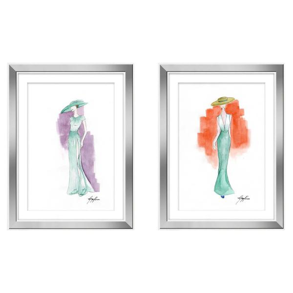 White Frame Artwork Pastel Watercolour Fashion Art Drawings set 4