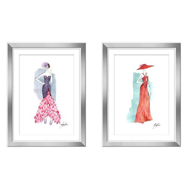 White Frame Artwork Pastel Watercolour Fashion Art Drawings set 1