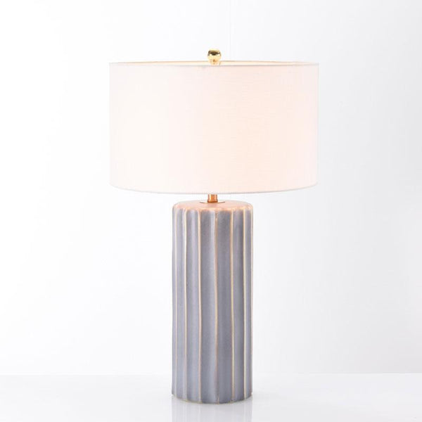 Windsor Light Blue Cremaic Table Lamp with white lamp shade