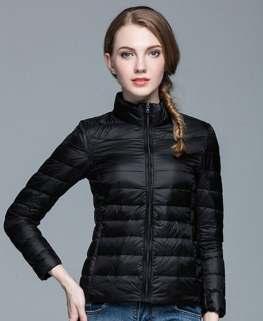 Winter Women  Stand Collar 90% White Duck Down Jacket Female Ultra Light Down Jackets Slim Long Sleeve Parkas Candy Color Fashion