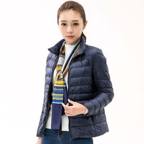 Woman Stand Collar Slim Short Ultra Light Down Jackets Female Wear Coat Parkas Plus Size 3XL Parkas