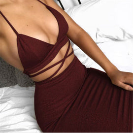 Fashion two pieces set women clothing sexy crop tops and pencil skirt spaghetti strap two pieces outfits