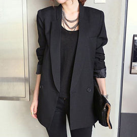 Solid Long Style Black Women Jacket and Blazer Female Notched Collar Asymmetrical Chic Ladies Blazers feminine