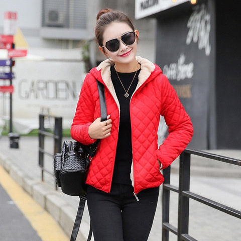 Autumn New Parkas basic jackets Female Women Winter plus velvet lamb hooded Coats Cotton Winter Jacket Womens Outwear coat