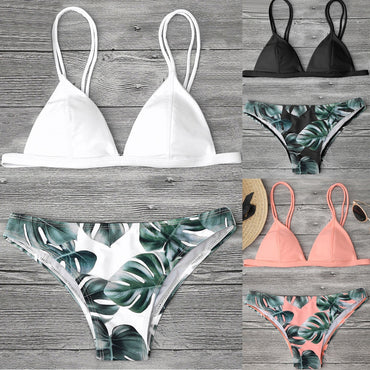 5 Color!! Sexy Swimwear Women Bikini Set Print Leaves Push-Up Padded Swimsuit Low Waist Bathing Beachwear Bikini Swimsuit