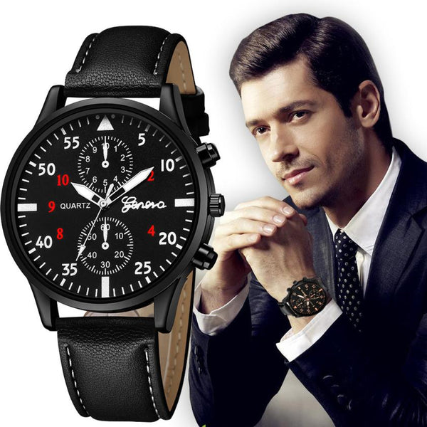 Luxury Men's Quartz Wrist Watches High Quality PU Leather Watch Strap Analog Slim Dial Casual New Life Waterproof