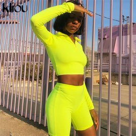 New Female Fitness Two Pieces Sets Autumn Full Sleeve Zipper Turtleneck Tops And High Waist Shorts Suits
