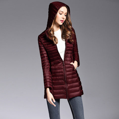 90% White Duck Down Coat Women Ultra Light Down Jackets winter New Women Long Down Coat Parka with Hood