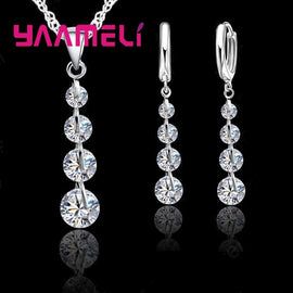 Exquisite Real Sterling Silver Bridal Jewelry Sets Long Style Austrian Crystal Necklaces Earrings Wedding Accessory