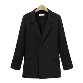 Autumn Winter Suit Blazer Women new Casual Double Breasted Pocket Women Jackets Elegant Long Sleeve Blazer Outerwear