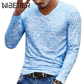 Autumn Slim Streetwear  V neck T Shirt Men Casual Fitness Tops&Tees Vintage Blue Long Sleeve Pullover shirt Homme Plus Size