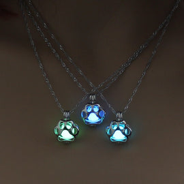 Glow Dark Necklace Metal Pet Cat Necklaces For Women Dog Paw Necklace Pendant Night luminous Light