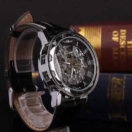 Men's Luxury Black Skeleton Leather Watch Sport Automatic Mechanical Stainless Steel Wrist Watch