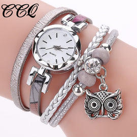 Women Girls Clock Analog Quartz Pendant Owl Ladies Dress Bracelet Watches Casual