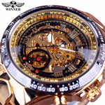 Winner New Number Sport Design Bezel Golden Watch Mens Watches Top Brand Luxury Men Automatic Skeleton Watch