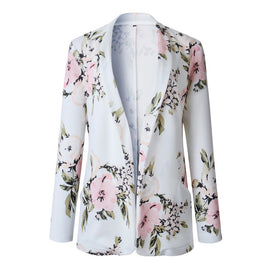 Elegant Blazer Feminine Women Floral Long Sleeve Blazer Notched Collar Coat Female Outerwear