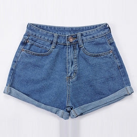 Vintage High Waist Crimping Denim Shorts Women Europe Style New Fashion Brand Slim Casual Femme Short Jeans Mujer Plus Size