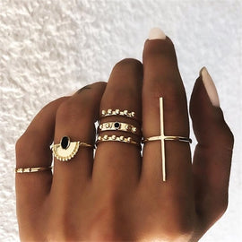 Vintage Gold Crescent Geometric Joint Ring Set for Women Jewelry Gift