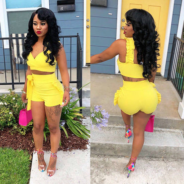 2PCS Women Summer Fashion Sexy Clothes Sets Sleeveless Solid Short Length Strapless Vest Ruffles Shorts Yellow Sets