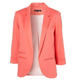 Spring Autumn Slim Fit Women Formal Jackets Office Work Open Front Notched Ladies Blazer Coat Hot Sale Fashion