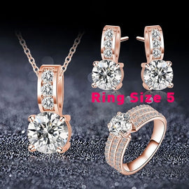 New Wedding Jewelry Set Silver Color Cubic Zircon Necklace/Earring/Ring Set Choose Size For Ring