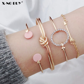 New 4pcs/Set Charm Romantic Pink Crystal Open Cuff Bangles/Bracelet Set For Women Gold Metal Alloy Arrow Link Chain Twist Bangle