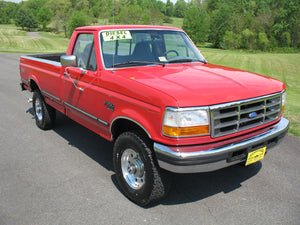 1995 Ford F250 Regular Cab Long Bed Diesel Truck Red Front Passenger Side