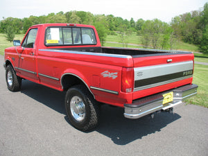 1995 Ford F250 Regular Cab Long Bed Diesel Truck Red Rear Driver Side