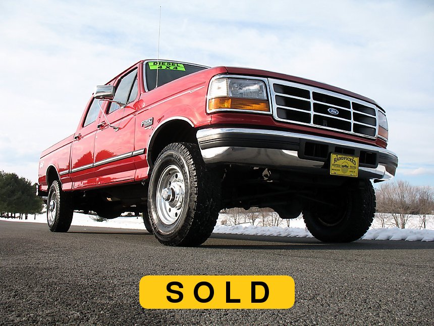 1997 Ford F250 Crew Cab Short Bed Diesel Truck Toreador Red Front Right Corner