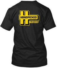 Load image into Gallery viewer, Handpicked Trucks Logo T-Shirt Back | Yellow Logo Black Premium T-Shirt