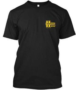 Handpicked Trucks Logo T-Shirt Front | Yellow Logo Black Premium T-Shirt