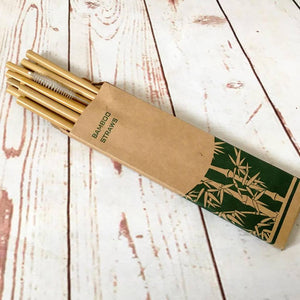 Bamboo Drinking Straws + Small Brush