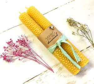 Beeswax handrolled Candles Set - 2 Candles