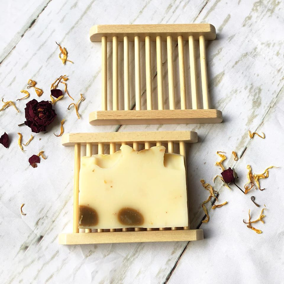 Light Brown Bamboo Soap Dish