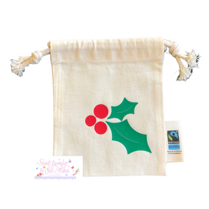 Holidays Designs Organic Tie String Mini Bag * Mini Drawstring Sacks