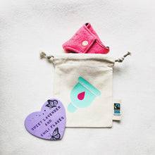 Load image into Gallery viewer, Cup Design Organic Tie String Mini Bag * Mini Drawstring Sacks