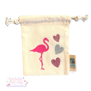 Flamingo Design Organic Tie String Mini Bag * Mini Drawstring Sacks