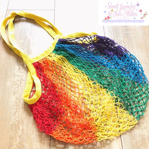 Rainbow Cotton Net Shopping Bag long handles (NOT handmade)