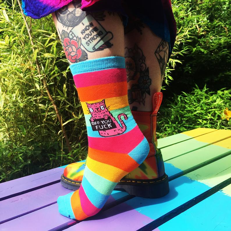 Off You F*ck Rainbow Socks - Sweary Cat Socks - yellow Cat - Katie Abey Socks - Funny Socks