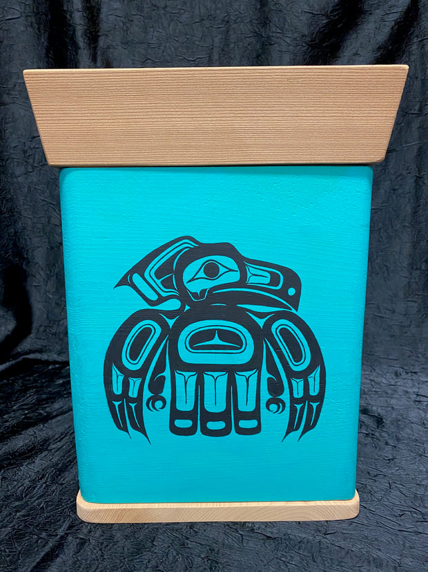 Teal Bentwood Box - Eagle, Killer Whale, Wolf by Ken Decker